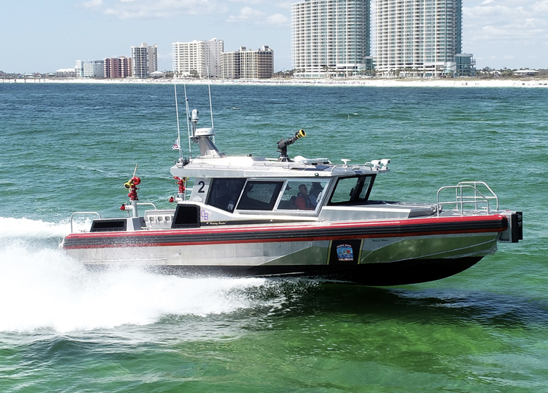 """July 29th, 2021: Metal Shark Delivers New Fireboat to Orange Beach Fire Rescue and Introduces """"Next-Gen"""" 38 Defiant NXT"""